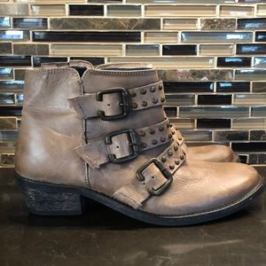 Boho distressed belted studded leather boots 37